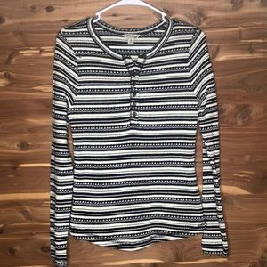 Lucky Brand Button Up Thermal Aztec Print Top